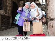 Купить «Mature ladies travellers with map», фото № 28442584, снято 26 ноября 2017 г. (c) Яков Филимонов / Фотобанк Лори