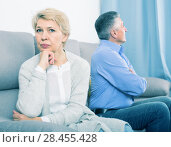 Купить «disappointed middle-aged couple quarreling at home with each other», фото № 28455428, снято 6 апреля 2020 г. (c) Яков Филимонов / Фотобанк Лори