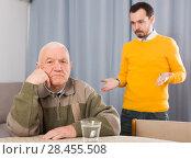 Купить «Father and son arguing», фото № 28455508, снято 22 сентября 2018 г. (c) Яков Филимонов / Фотобанк Лори