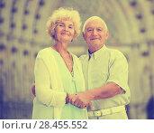 Купить «loving mature spouses enjoying walk», фото № 28455552, снято 21 июля 2018 г. (c) Яков Филимонов / Фотобанк Лори