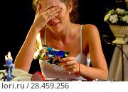 Купить «Wedding memories. Broken heart woman. Family break up.», фото № 28459256, снято 21 июля 2018 г. (c) Gennadiy Poznyakov / Фотобанк Лори