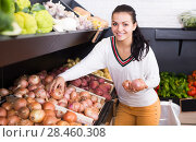 Купить «Smiling female customer examining various onions», фото № 28460308, снято 23 ноября 2016 г. (c) Яков Филимонов / Фотобанк Лори