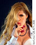 Купить «Woman eating berry. Pin up girl wearing unbuttoned blouse and bra.», фото № 28471308, снято 18 августа 2018 г. (c) Gennadiy Poznyakov / Фотобанк Лори