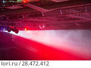 Купить «Stage lights. Soffits. Concert light», фото № 28472412, снято 27 июня 2019 г. (c) Евгений Ткачёв / Фотобанк Лори