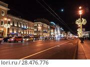 Купить «Nevsky Prospect at night», фото № 28476776, снято 27 декабря 2015 г. (c) EugeneSergeev / Фотобанк Лори