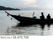 Купить «Two fishermen in boat, Koh Samui, Surat Thani Province, Thailand», фото № 28479708, снято 10 декабря 2016 г. (c) Ingram Publishing / Фотобанк Лори
