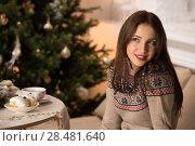 Купить «Beautiful woman wearing winter outfit drinking tea with candy at home near Christmas tree», фото № 28481640, снято 12 ноября 2014 г. (c) Ingram Publishing / Фотобанк Лори