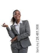 Купить «Smart african business woman thinking and presenting something», фото № 28481908, снято 19 ноября 2014 г. (c) Ingram Publishing / Фотобанк Лори