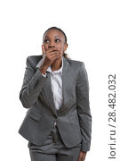 Купить «African business woman laughing isolated on white background», фото № 28482032, снято 20 ноября 2014 г. (c) Ingram Publishing / Фотобанк Лори