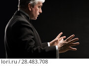 Купить «Closeup portrait of male orchestra conductor directing with his hands in concert. Business leading concept», фото № 28483708, снято 28 января 2013 г. (c) Ingram Publishing / Фотобанк Лори