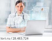Купить «Female doctor scanning brain of patient with help of modern technology», фото № 28483724, снято 20 декабря 2012 г. (c) Ingram Publishing / Фотобанк Лори