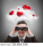 Купить «Red hearts flying in cloud overhead of man looking through binoculars. Valentine's day background», фото № 28484336, снято 23 июля 2018 г. (c) Ingram Publishing / Фотобанк Лори