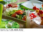 Купить «Vegetables on table at cafe. Salad ingredient», фото № 28484432, снято 12 октября 2013 г. (c) Ingram Publishing / Фотобанк Лори