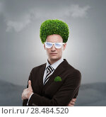 Купить «Man with greenery on his head. Loving nature and taking care of ecology concept», фото № 28484520, снято 9 июля 2020 г. (c) Ingram Publishing / Фотобанк Лори