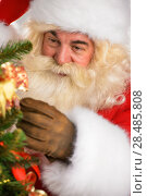 Купить «Real Santa Claus decorating Christmas tree at home closeup portrait», фото № 28485808, снято 19 января 2013 г. (c) Ingram Publishing / Фотобанк Лори