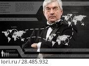 Businessman pressing high tech type of modern buttons on a virtual background. Стоковое фото, фотограф Kirill Kedrinskiy / Ingram Publishing / Фотобанк Лори