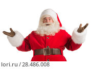 Купить «Happy Christmas Santa Claus with a welcome gesture. Isolated on white background. Full length», фото № 28486008, снято 17 января 2013 г. (c) Ingram Publishing / Фотобанк Лори