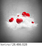 Купить «Red hearts in cloud. Valentine's day background», фото № 28486028, снято 23 июля 2018 г. (c) Ingram Publishing / Фотобанк Лори