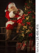 Купить «Santa Claus decorating Christmas tree in dark room», фото № 28486416, снято 31 января 2013 г. (c) Ingram Publishing / Фотобанк Лори