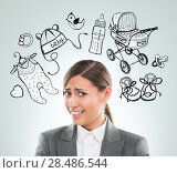 Купить «Young business woman thinking of her pregnancy plans closeup face portrait and sketches overhead», фото № 28486544, снято 2 февраля 2013 г. (c) Ingram Publishing / Фотобанк Лори