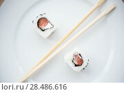 Купить «Aerial closeup of a sushi platter», фото № 28486616, снято 11 января 2012 г. (c) Ingram Publishing / Фотобанк Лори