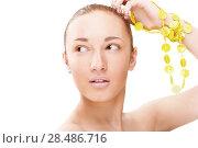 Купить «Closeup portrait of a young model with perfect skin», фото № 28486716, снято 1 апреля 2011 г. (c) Ingram Publishing / Фотобанк Лори