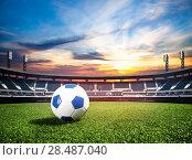 Купить «Ball on soccer stadium championship concept», фото № 28487040, снято 9 июля 2014 г. (c) Сергей Новиков / Фотобанк Лори