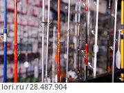 Купить «Image of stand with fishing rods in the sports shop», фото № 28487904, снято 16 января 2018 г. (c) Яков Филимонов / Фотобанк Лори