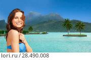 Купить «happy woman in bikini swimsuit on bora bora beach», фото № 28490008, снято 21 июля 2012 г. (c) Syda Productions / Фотобанк Лори