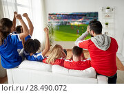 Купить «friends or football fans watching soccer», фото № 28490072, снято 14 августа 2016 г. (c) Syda Productions / Фотобанк Лори