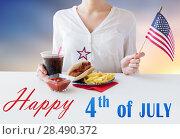 Купить «woman celebrating american independence day», фото № 28490372, снято 28 мая 2015 г. (c) Syda Productions / Фотобанк Лори