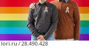 Купить «close up of couple with gay pride rainbow ribbons», фото № 28490428, снято 2 ноября 2017 г. (c) Syda Productions / Фотобанк Лори