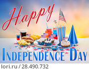 Купить «food and drinks on american independence day party», фото № 28490732, снято 28 мая 2015 г. (c) Syda Productions / Фотобанк Лори