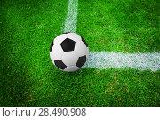Купить «Soccer ball on marking line», фото № 28490908, снято 19 февраля 2019 г. (c) Wavebreak Media / Фотобанк Лори