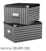 Купить «Two stripped office cardboard boxes isolated on white background», фото № 28491332, снято 18 июня 2019 г. (c) Ingram Publishing / Фотобанк Лори