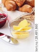 Купить «Croissants, jam and butter over white», фото № 28491860, снято 23 октября 2012 г. (c) Ingram Publishing / Фотобанк Лори