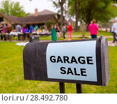 Купить «Garage sale in an american weekend on the yard green lawn», фото № 28492780, снято 23 января 2019 г. (c) Ingram Publishing / Фотобанк Лори