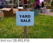 Купить «Yard sale in an american weekend on the green lawn», фото № 28492816, снято 18 февраля 2020 г. (c) Ingram Publishing / Фотобанк Лори
