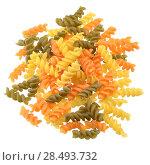 Купить «Tricolor Pasta fusilli pile isolated over white background», фото № 28493732, снято 18 августа 2019 г. (c) Ingram Publishing / Фотобанк Лори