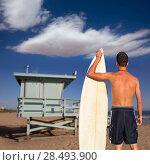 Купить «Boy surfer back rear view holding surfboard on santa Monica Lifeguard house California», фото № 28493900, снято 20 июня 2019 г. (c) Ingram Publishing / Фотобанк Лори