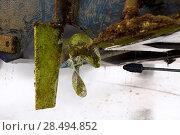 Купить «Boat stern hull and propeller pressure water cleaning on beached ship», фото № 28494852, снято 7 мая 2013 г. (c) Ingram Publishing / Фотобанк Лори