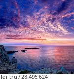 Купить «Menorca sunset in Cap de Caballeria cape at Balearic Islands es Mercadal», фото № 28495624, снято 27 мая 2013 г. (c) Ingram Publishing / Фотобанк Лори