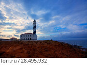 Купить «Cap de Favaritx sunset lighthouse cape in Mahon at Balearic Islands of Spain», фото № 28495932, снято 28 мая 2013 г. (c) Ingram Publishing / Фотобанк Лори