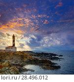 Купить «Cap de Favaritx sunset lighthouse cape in Mahon at Balearic Islands of Spain», фото № 28496012, снято 28 мая 2013 г. (c) Ingram Publishing / Фотобанк Лори
