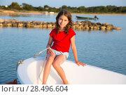 Купить «Kid girl pretending to be a sailor in boat bow at Formentera Balearic Islands», фото № 28496604, снято 22 января 2019 г. (c) Ingram Publishing / Фотобанк Лори