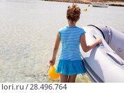 Купить «Kid girl in inflatable boat at formentera Estany des Peix near Ibiza», фото № 28496764, снято 27 июня 2013 г. (c) Ingram Publishing / Фотобанк Лори