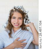 Купить «Funny kid girl smiling with his dye hair with foil blue eyes», фото № 28497104, снято 24 августа 2013 г. (c) Ingram Publishing / Фотобанк Лори