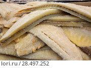 Купить «Cod fish salted codfish in a row stacked in market», фото № 28497252, снято 6 октября 2013 г. (c) Ingram Publishing / Фотобанк Лори