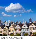 Купить «San Francisco Victorian houses in Alamo Square at California USA», фото № 28497308, снято 22 апреля 2013 г. (c) Ingram Publishing / Фотобанк Лори