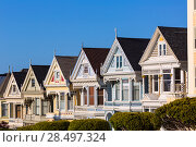 Купить «San Francisco Victorian houses in Alamo Square at California USA», фото № 28497324, снято 22 апреля 2013 г. (c) Ingram Publishing / Фотобанк Лори